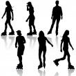 Stock Vector: Silhouettes of people rollerskating. Vector illustration.