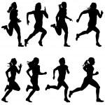 Set of silhouettes. Runners on sprint, women. vector illustratio — Stock Vector