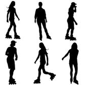 Silhouettes of people rollerskating. Vector illustration. — Vettoriale Stock