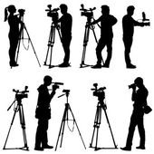 Cameraman with video camera. Silhouettes on white background. Ve — Stock Vector
