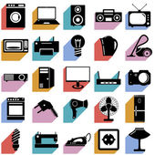 Collection flat icons with long shadow. Electrical devices symbo — Stock Vector