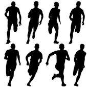 Set of silhouettes. Runners on sprint, men. vector illustration. — Stock Vector