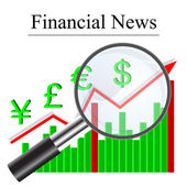 Growth histogram finances behind a magnifying glass, vector illu — Stock Vector