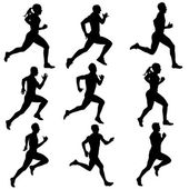 Set running silhouettes. Vector illustration. — Stock Vector