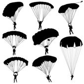 Set skydiver, silhouettes parachuting vector illustration — Vector de stock