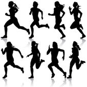 Set of silhouettes. Runners on sprint, women. vector illustratio — Stock Vector