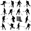 Set of silhouettes of hockey player. Isolated on white. illustra — Stock Vector