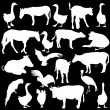 Black set silhouettes zoo animals collection on white backgroun — Stock Vector
