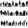 Black set of silhouettes of parents and children on white backgr — Stock Vector #41691047