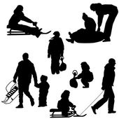 Black silhouettes set people and children with a sled white back — Stock Vector