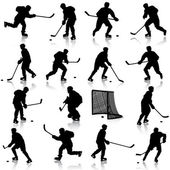 Set of silhouettes of hockey player. Isolated on white. illustra — Stockvector