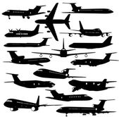 Collection of different  aircraft silhouettes.  vector illustrat — Stock Vector