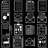 Statistics and analytics file icons. Vector illustration. — Vecteur