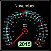 2015 year calendar speedometer car in vector. November. — Stock Vector