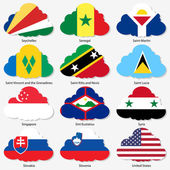 Set  Flags of world sovereign states in  form  clouds. Vector il — Stock Vector