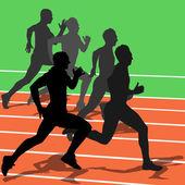 Silhouettes, athletes running in the stadium. vector illustratio — Stock Vector