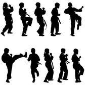 Conjunto de siluetas negras de karate. deporte vector illustration. — Vector de stock