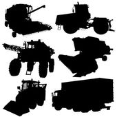 Agricultural vehicles silhouettes set. Vector illustration. — Stock Vector