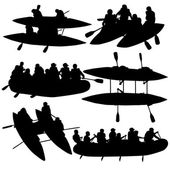 Silhouette collection people rafters on boats,  catamaran and ka — Stock Vector