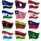 Set  Flags of world sovereign states. Vector illustration. — Stock Vector