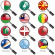 Set  Flags of world sovereign states magnifying glass. Vector il — Stock Photo #44492319
