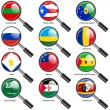 Set Flags of world sovereign states magnifying glass. Vector — Stock Photo #44492461