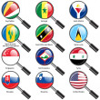 Set  Flags of world sovereign states magnifying glass. Vector il — Stock Photo #44492561
