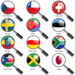 Set  Flags of world sovereign states magnifying glass. Vector il — Stock Photo #44492763