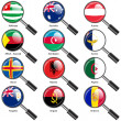 Set  Flags of world sovereign states magnifying glass. Vector il — Stock Photo #44492839