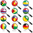 Set  Flags of world sovereign states magnifying glass. Vector il — Stock Photo #44493007