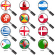 Set  Flags of world sovereign states magnifying glass. Vector il — Stock Photo #44493035