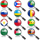 Set  Flags of world sovereign states magnifying glass. Vector — Stock Photo