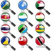 Set  Flags of world sovereign states magnifying glass. Vector il — Stock Photo