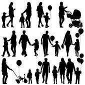 Black set of silhouettes of parents and children on white backgr — Stock Vector