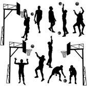 Zwarte silhouetten van mannen spelen basketbal op een witte pagina — Stockvector