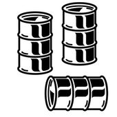 Silhouettes  metal barrels  for oil on white background. Vector — Stock Vector