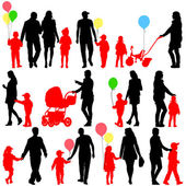 Black set of silhouettes of parents and children with balloons o — Stock Vector