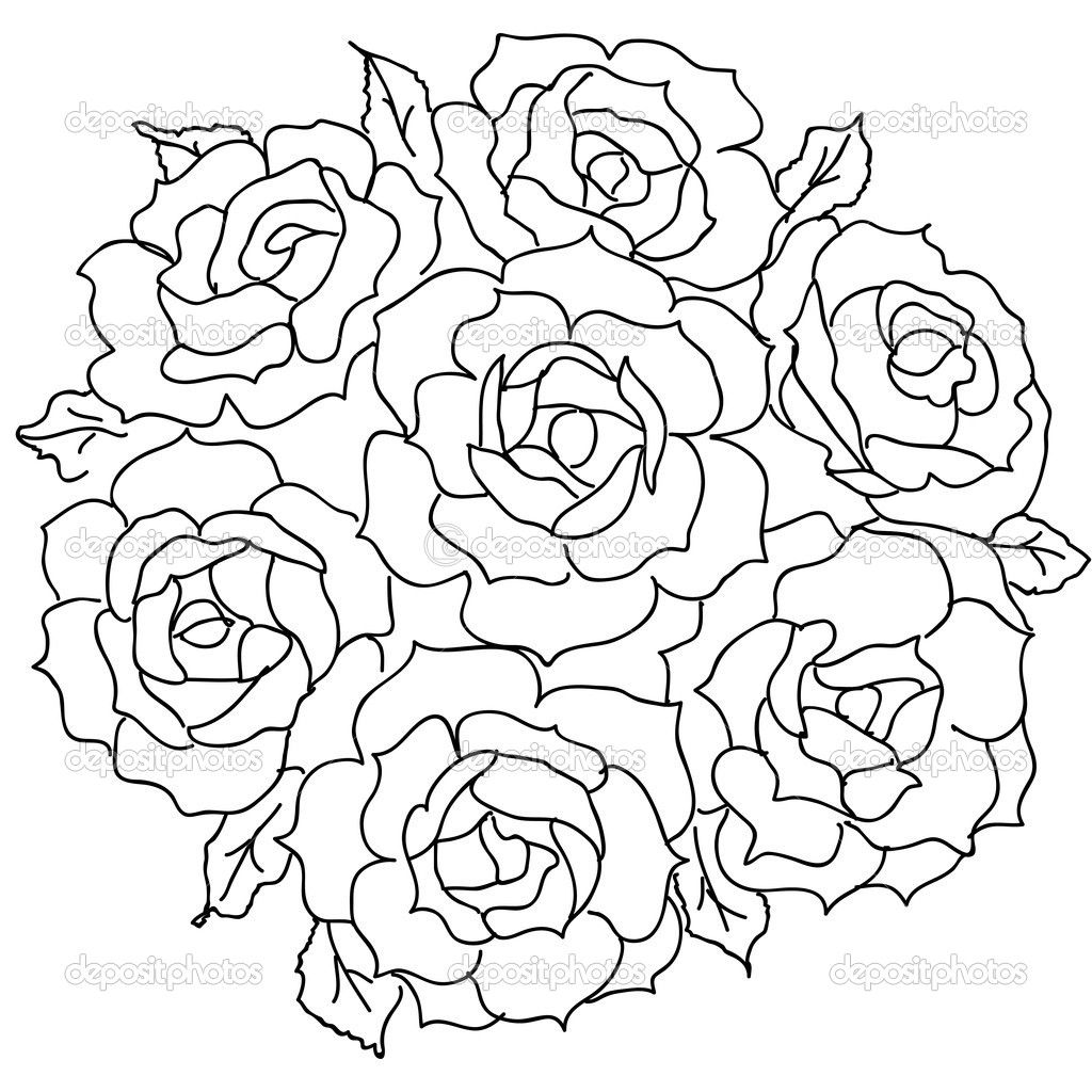 Rose Bouquet Drawing Roses Bouquet Drawing