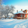 The house in snow — Stock Photo