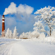 Winter day and industrial air pollution — Stock Photo #35193783