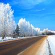 Winter landscape with the road — Stock fotografie