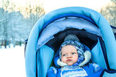 Small child in the winter on walk — Stock Photo