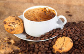 Cup with hot coffee — Stockfoto