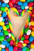 Frame a background colorful sweets of sugar candies — Stock Photo