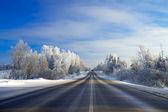 Winterlandschaft mit der Straße im Wald — Stockfoto