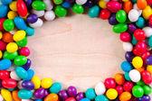 Rama tło z kolorowych słodyczy cukru, cukierków — Zdjęcie stockowe