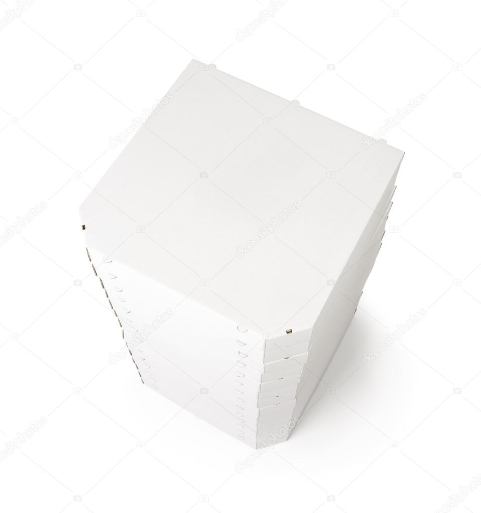 Stack of pizza boxes isolated on white background with copy space for your text  Stock Photo #12313748