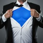 Businessman acting like a super hero — Stock Photo