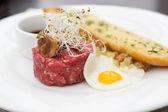 Minced beef tartare style — Stock Photo