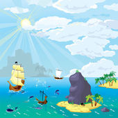 The ocean, ships, islands — Stock Vector